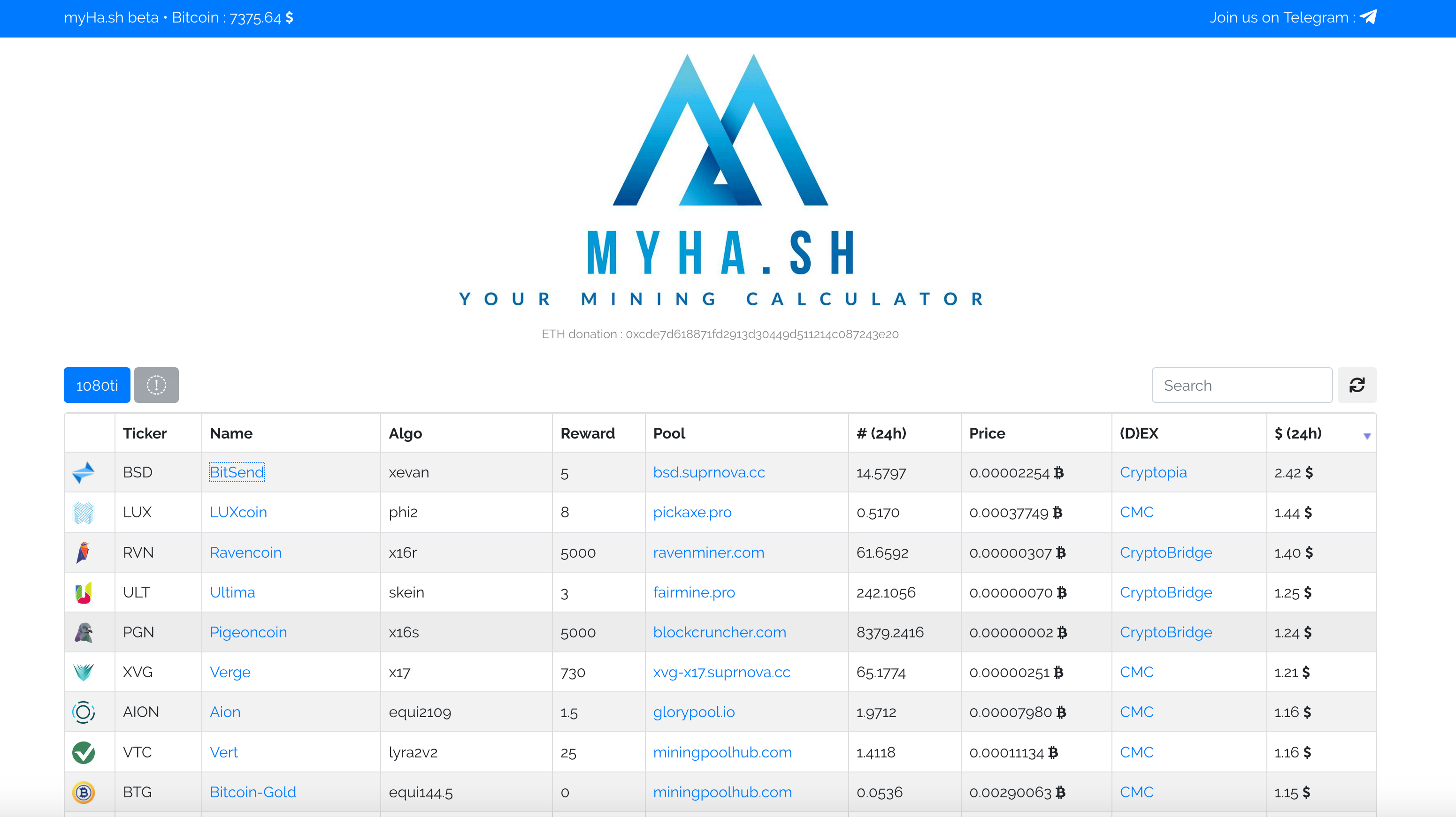 MyHash - simple mining calculator for NVIDIA GPU