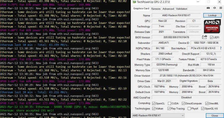 amd radeon rx 6700 xt hashrate algoritması eter