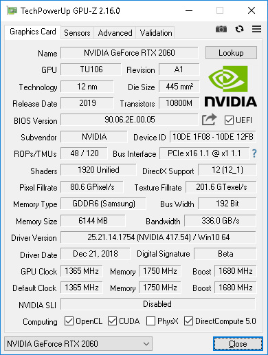 Nvidia Geforce RTX2060 - the first tests in mining