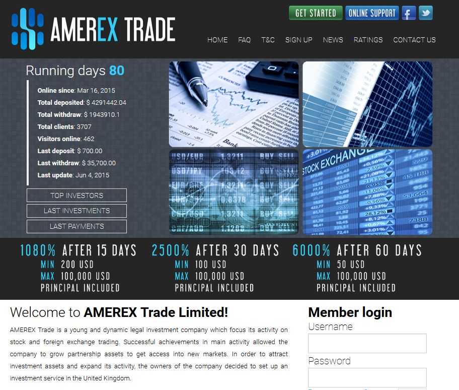 AmerEX trade - the another HYIP with Bitcoin support