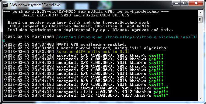 Обновленные Windows бинарники ccMiner 1.5.39-git Fork от SP для видеок