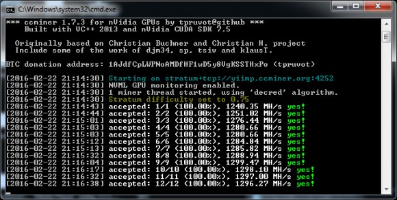 Updated ccMiner 1.7.3 fork from tpruvot with improved Decred support