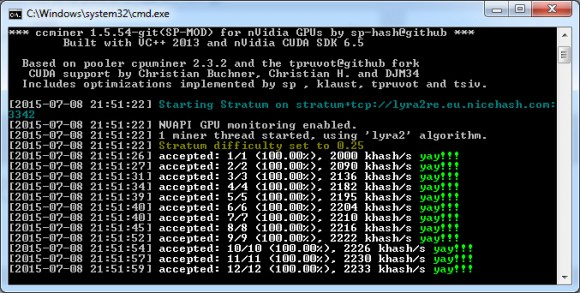 Updated ccMiner 1.5.54 fork from the SP for video cards based on Maxwell