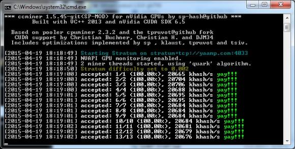 Обновленный форк майнера ccMiner 1.5.45 от SP