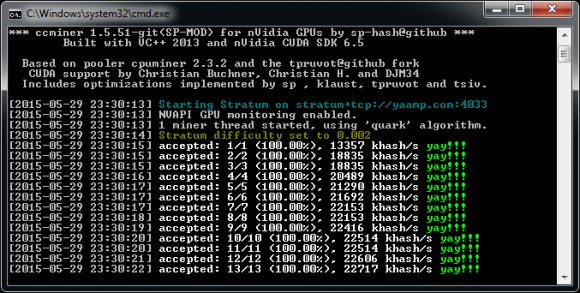 New ccMiner 1.5.51-git SP for Maxwell GPU