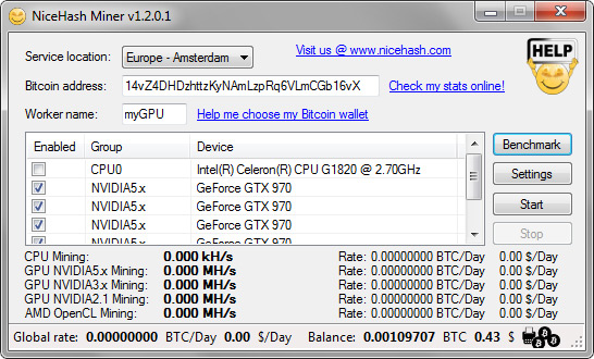 NiceHash Miner - Miner GUI now supports any video card from AMD