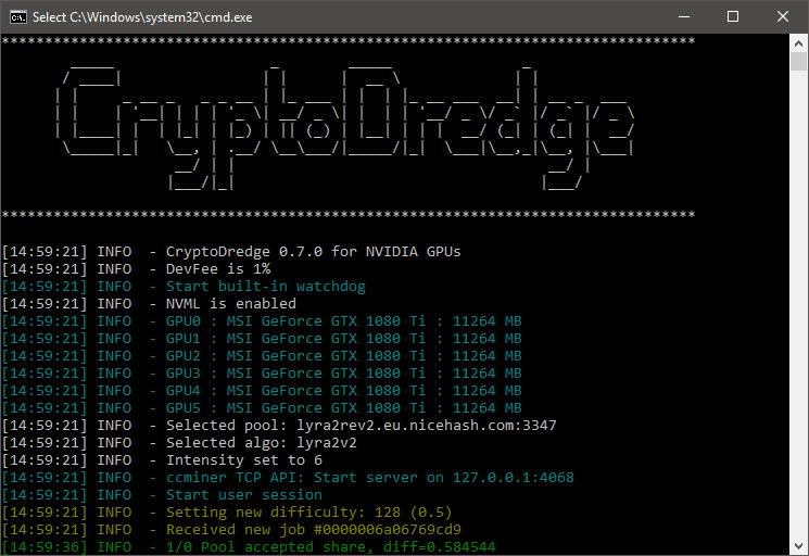 CryptoDredge высокопроизводительный майнер для NVIDIA под Lyra2Rev2